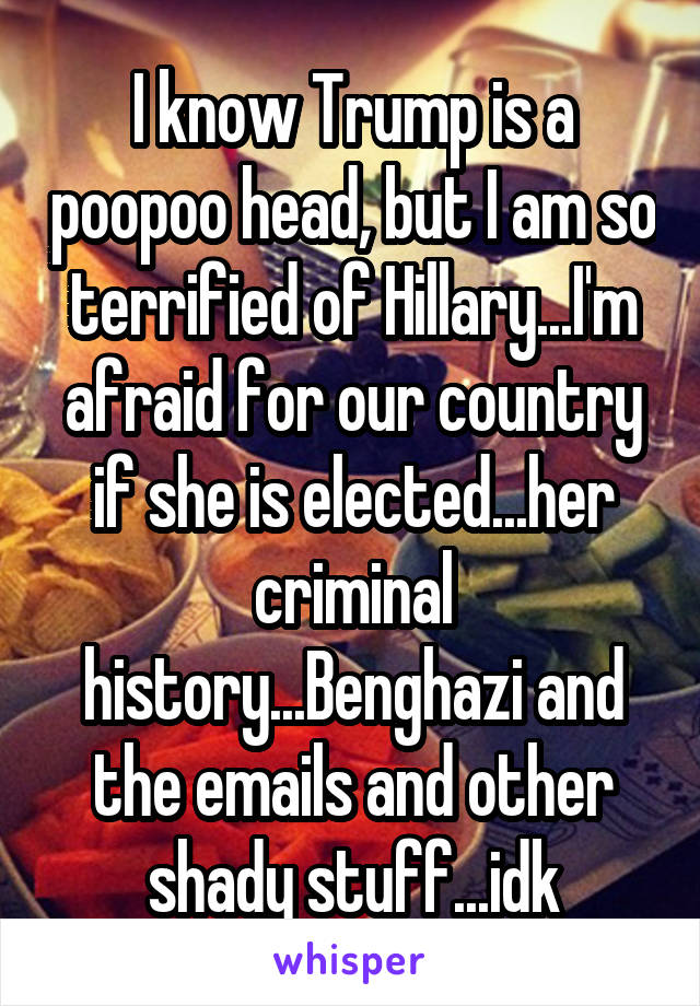 I know Trump is a poopoo head, but I am so terrified of Hillary...I'm afraid for our country if she is elected...her criminal history...Benghazi and the emails and other shady stuff...idk