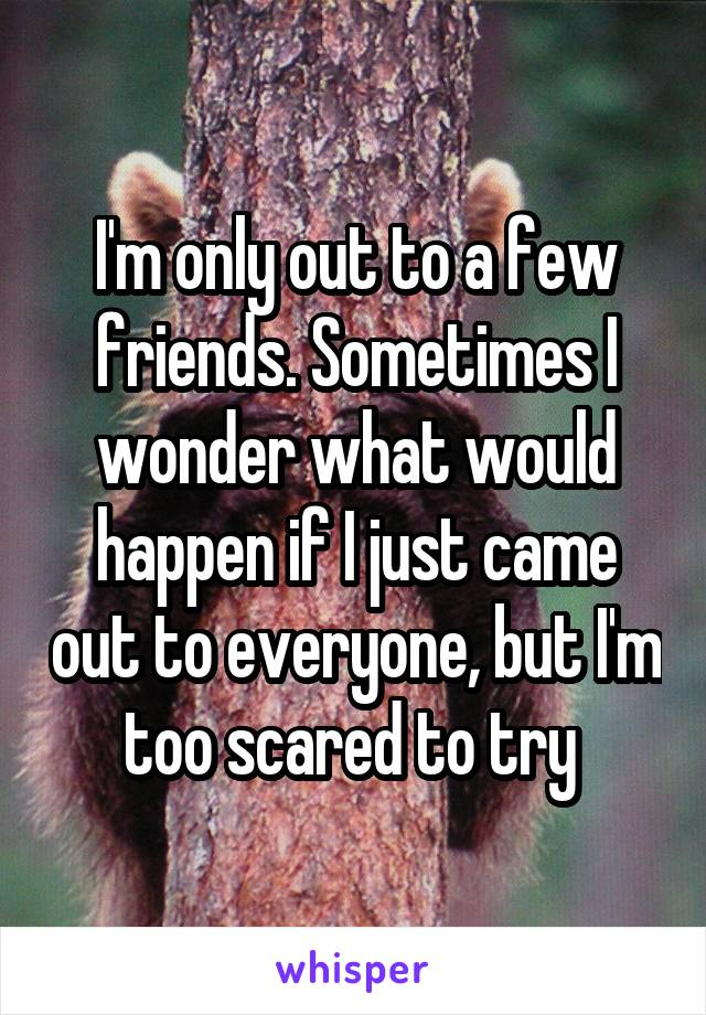 I'm only out to a few friends. Sometimes I wonder what would happen if I just came out to everyone, but I'm too scared to try