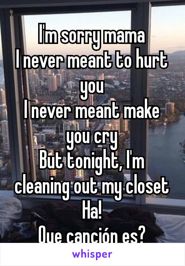 I'm sorry mama I never meant to hurt you I never meant make you cry But tonight, I'm cleaning out my closet Ha! Que canción es?