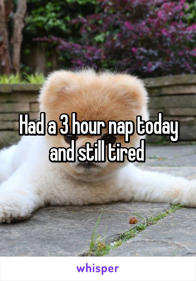 Had a 3 hour nap today and still tired