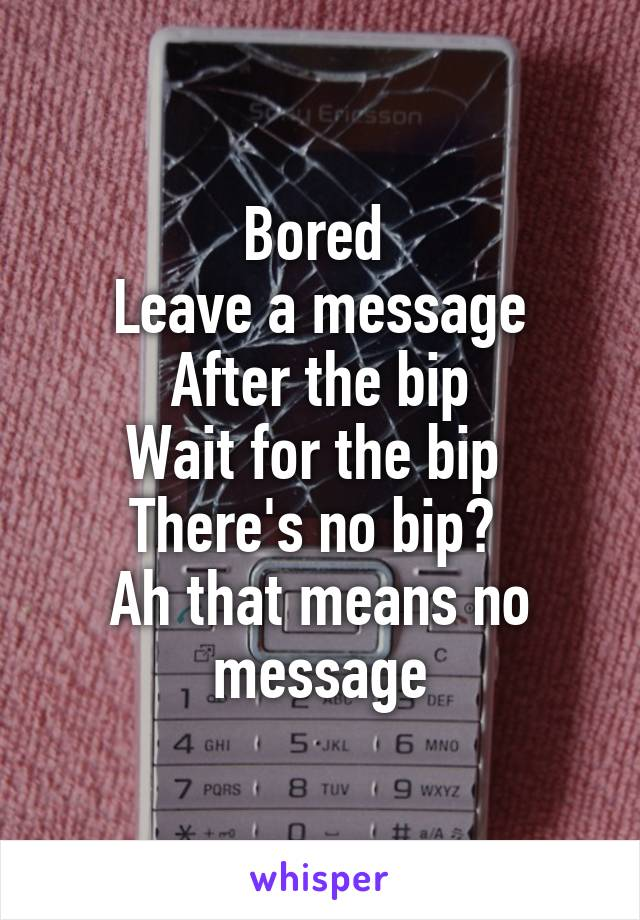 Bored  Leave a message After the bip Wait for the bip  There's no bip?  Ah that means no message