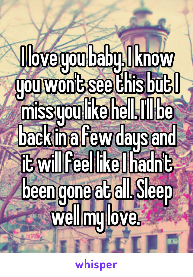 I love you baby. I know you won't see this but I miss you like hell. I'll be back in a few days and it will feel like I hadn't been gone at all. Sleep well my love.