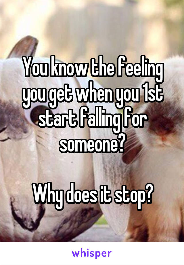 You know the feeling you get when you 1st start falling for someone?  Why does it stop?