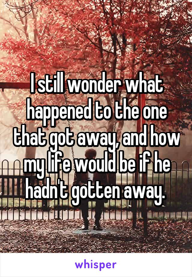 I still wonder what happened to the one that got away, and how my life would be if he hadn't gotten away.