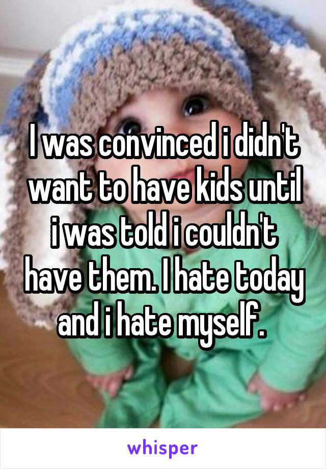 I was convinced i didn't want to have kids until i was told i couldn't have them. I hate today and i hate myself.