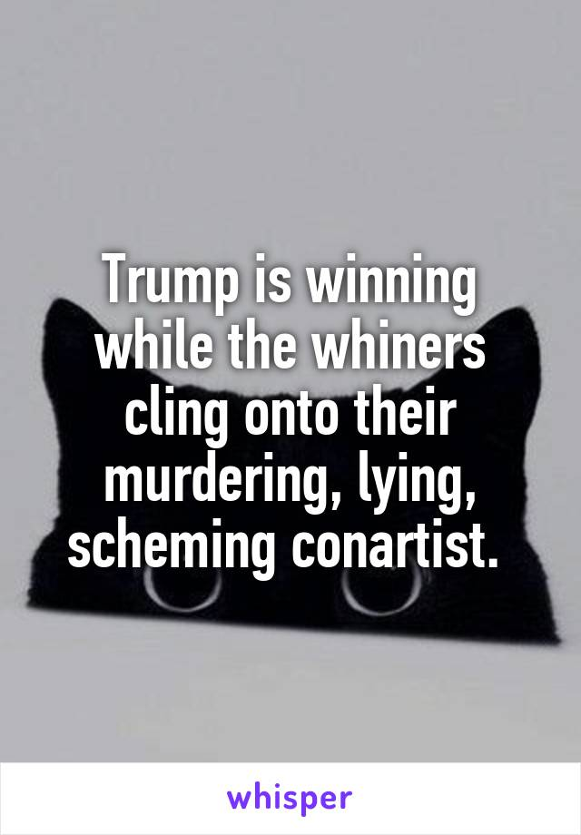 Trump is winning while the whiners cling onto their murdering, lying, scheming conartist.