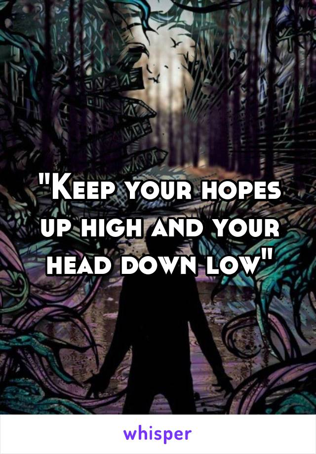 """Keep your hopes up high and your head down low"""