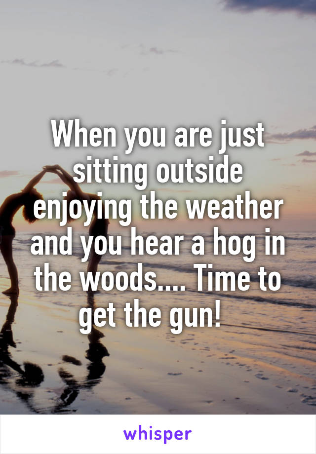 When you are just sitting outside enjoying the weather and you hear a hog in the woods.... Time to get the gun!