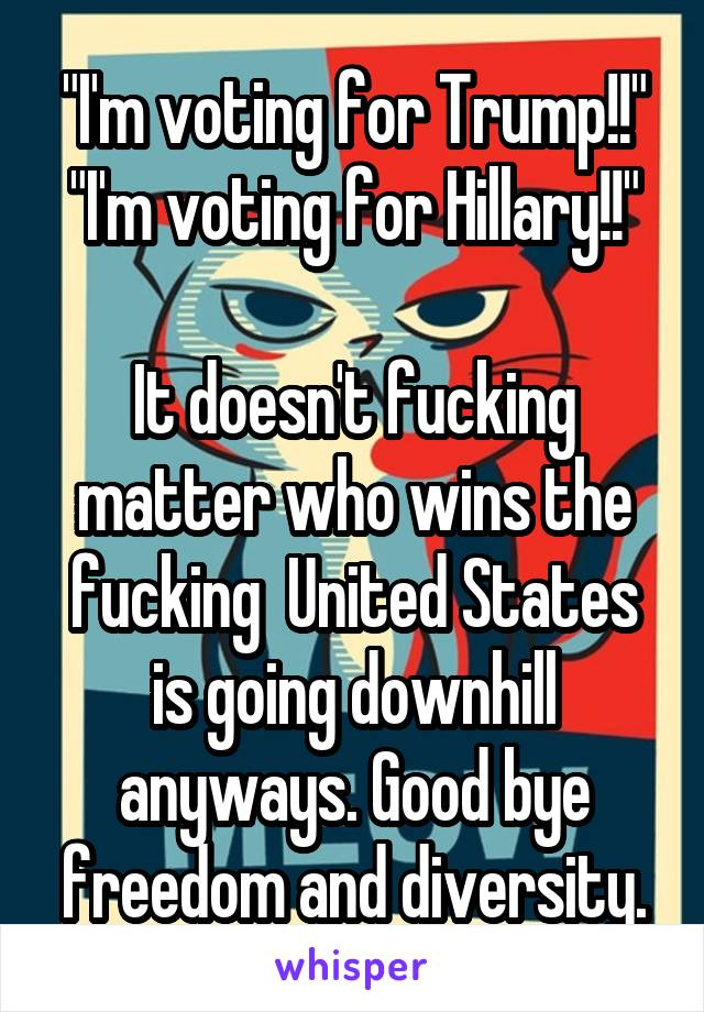 """""""I'm voting for Trump!!"""" """"I'm voting for Hillary!!""""  It doesn't fucking matter who wins the fucking  United States is going downhill anyways. Good bye freedom and diversity."""