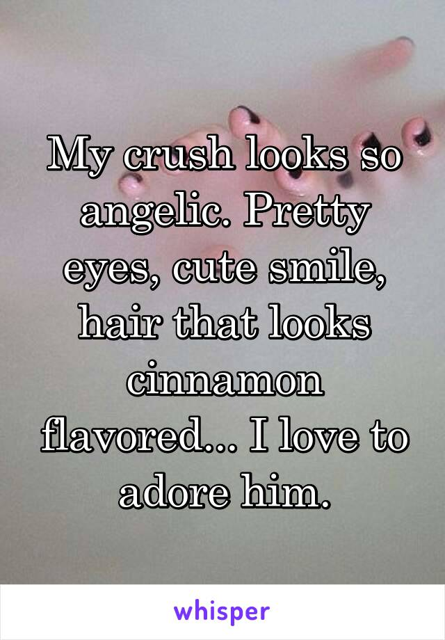 My crush looks so angelic. Pretty eyes, cute smile, hair that looks cinnamon flavored... I love to adore him.