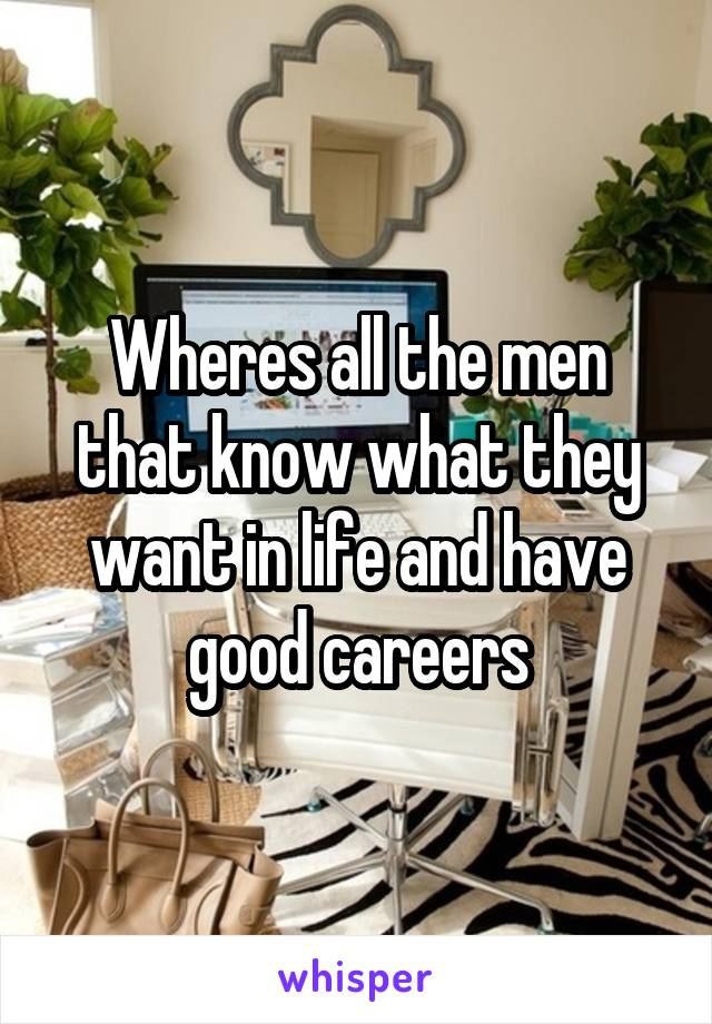 Wheres all the men that know what they want in life and have good careers