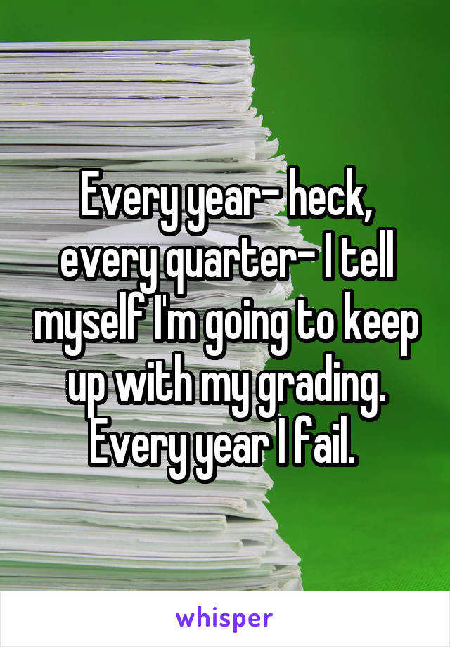Every year- heck, every quarter- I tell myself I'm going to keep up with my grading. Every year I fail.