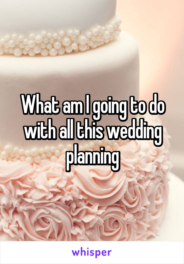 What am I going to do with all this wedding planning