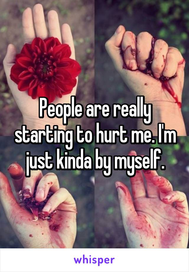 People are really starting to hurt me. I'm just kinda by myself.
