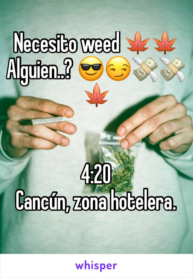 Necesito weed 🍁🍁 Alguien..? 😎😏💸💸🍁   4:20 Cancún, zona hotelera.