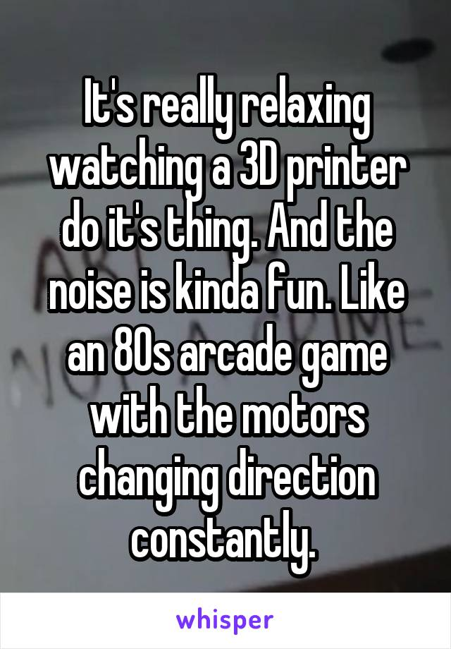 It's really relaxing watching a 3D printer do it's thing. And the noise is kinda fun. Like an 80s arcade game with the motors changing direction constantly.
