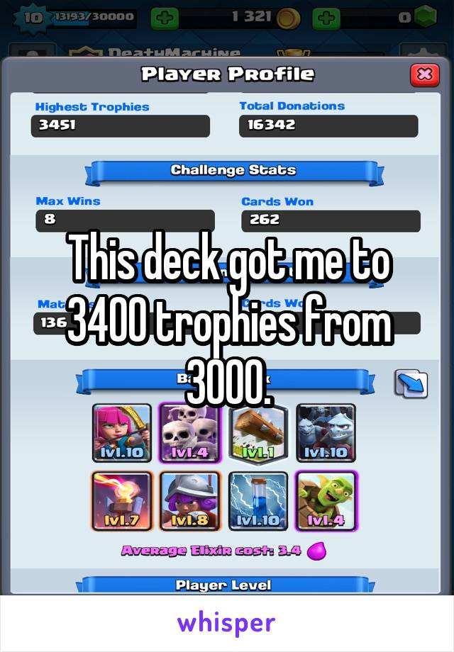 This deck got me to 3400 trophies from 3000.