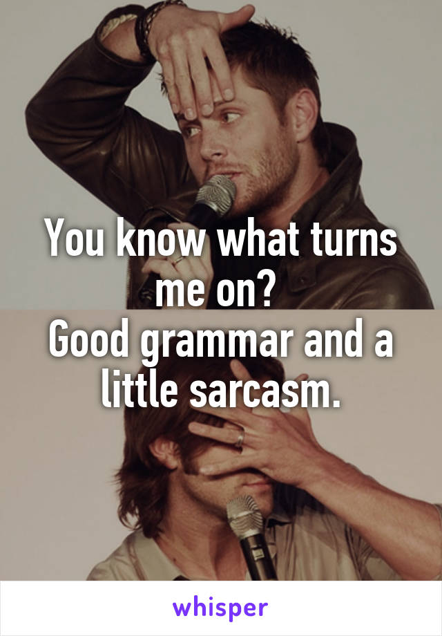 You know what turns me on?  Good grammar and a little sarcasm.