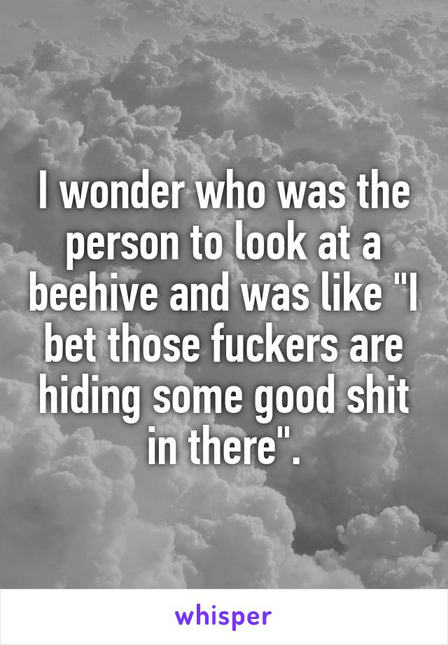 """I wonder who was the person to look at a beehive and was like """"I bet those fuckers are hiding some good shit in there""""."""