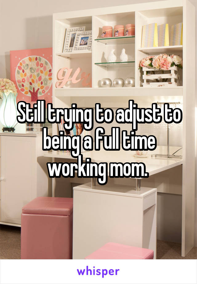 Still trying to adjust to being a full time working mom.