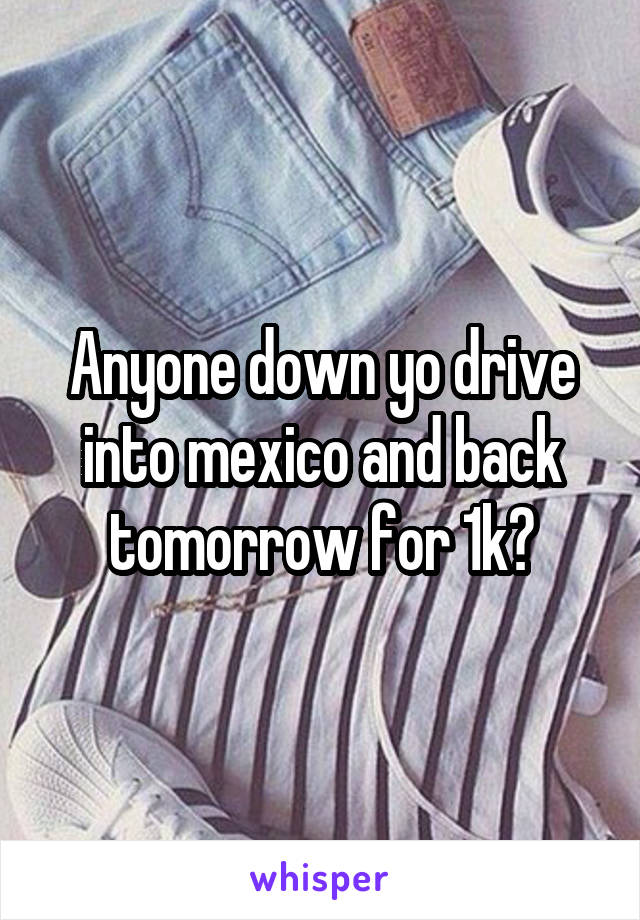 Anyone down yo drive into mexico and back tomorrow for 1k?