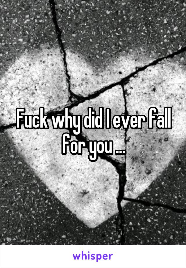 Fuck why did I ever fall for you ...