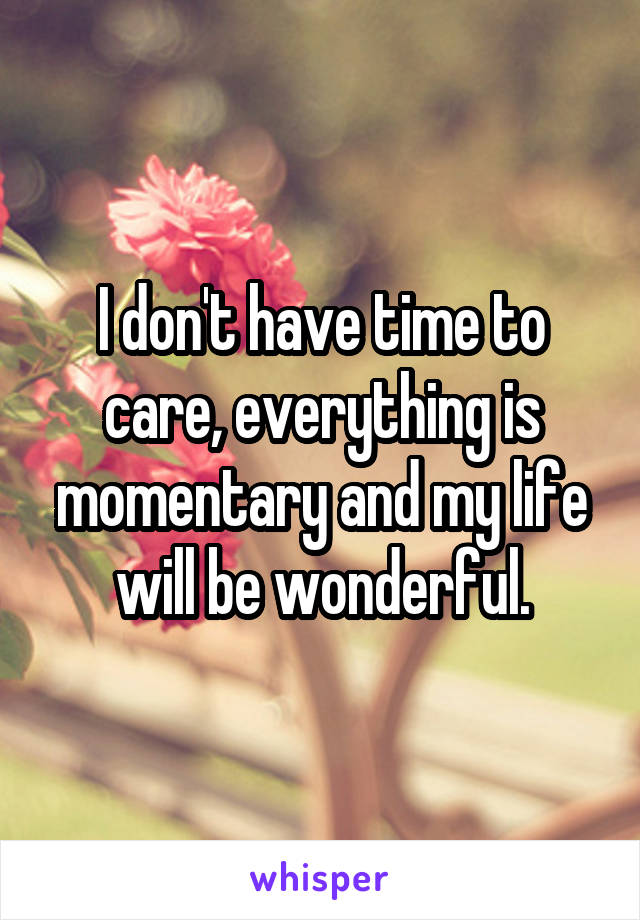 I don't have time to care, everything is momentary and my life will be wonderful.