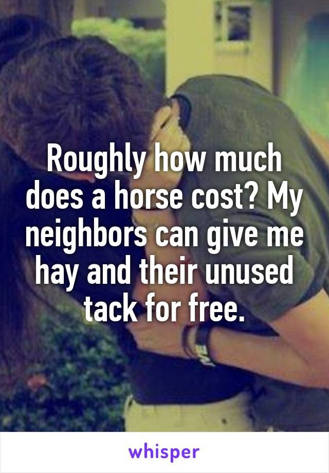 Roughly how much does a horse cost? My neighbors can give me hay and their unused tack for free.
