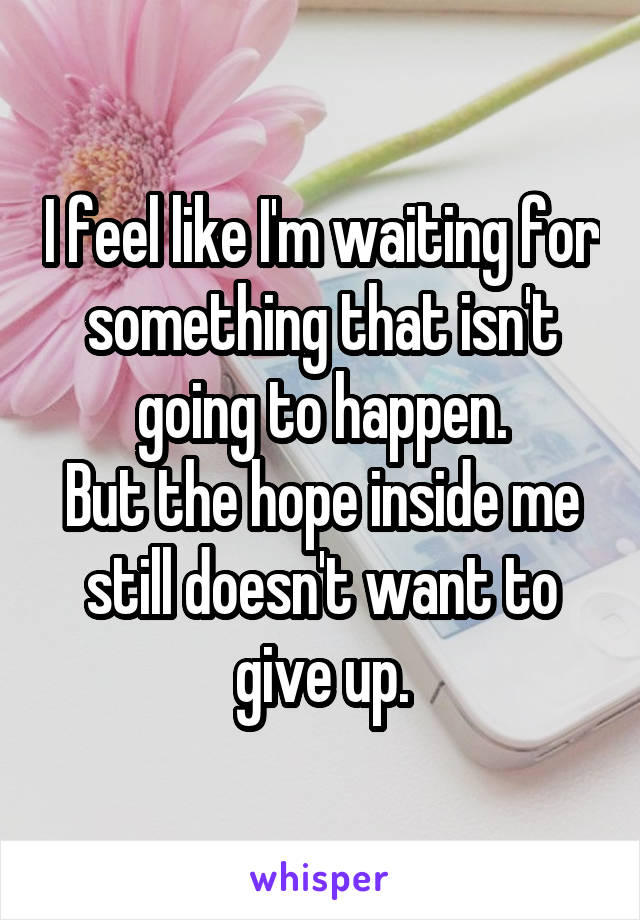 I feel like I'm waiting for something that isn't going to happen. But the hope inside me still doesn't want to give up.