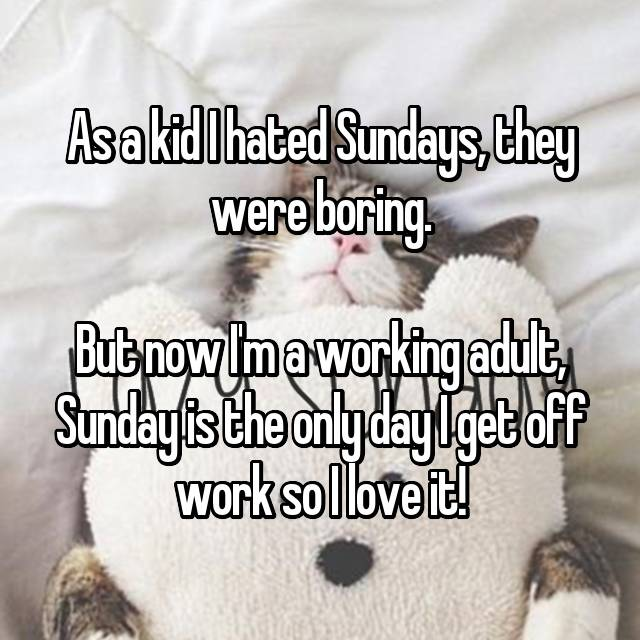 As a kid I hated Sundays, they were boring.  But now I'm a working adult, Sunday is the only day I get off work so I love it!