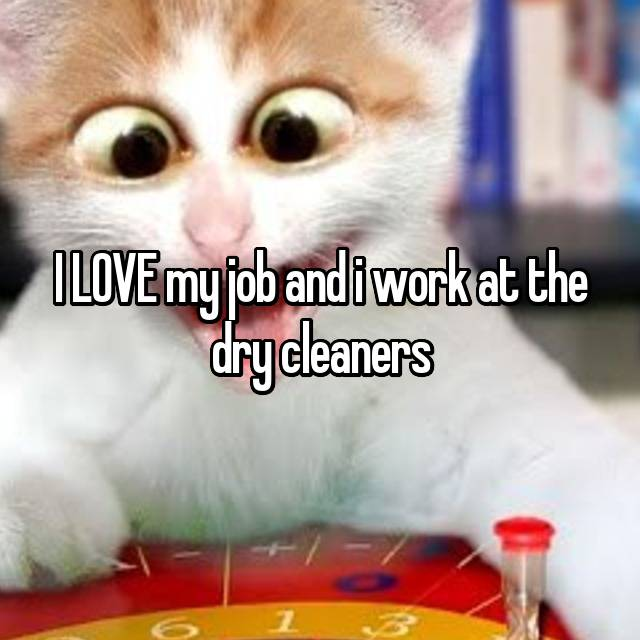 I LOVE my job and i work at the dry cleaners