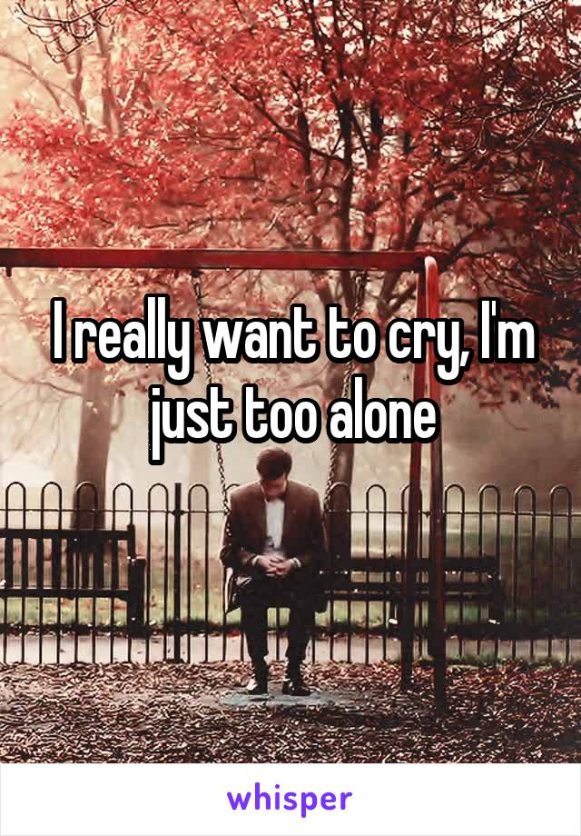 I really want to cry, I'm just too alone