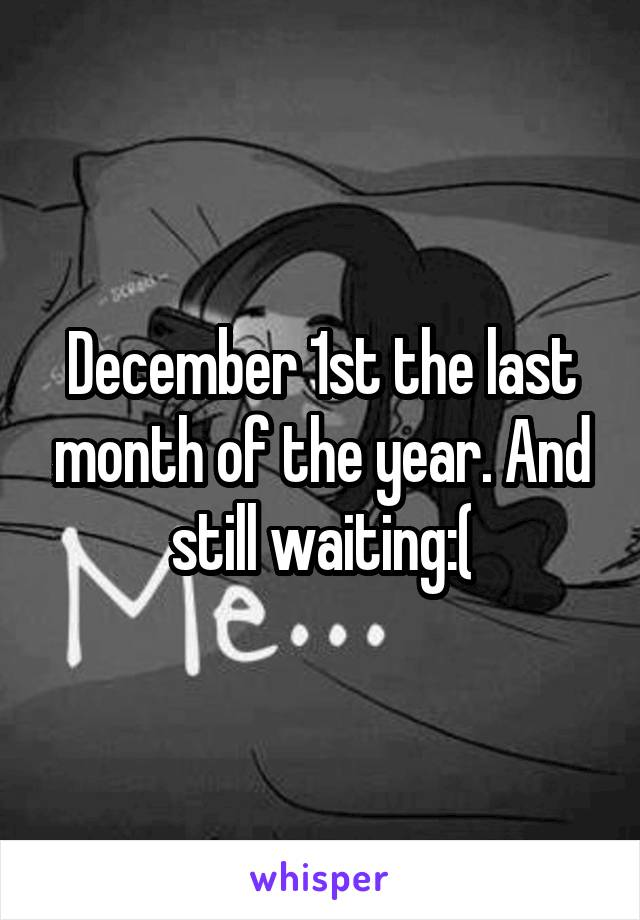 December 1st the last month of the year. And still waiting:(