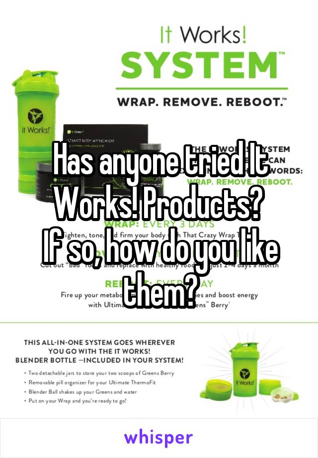 Has anyone tried It Works! Products?  If so, how do you like them?