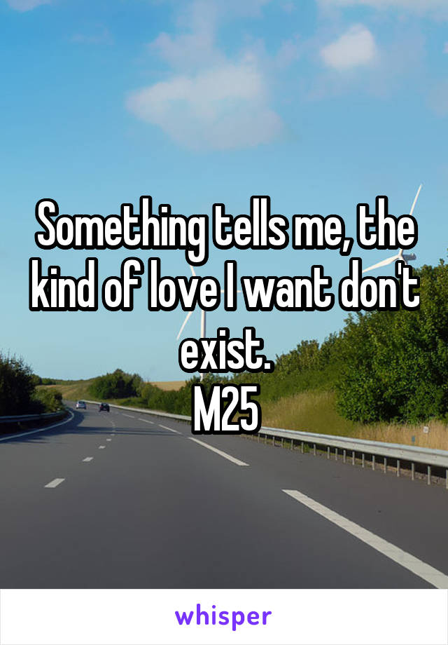 Something tells me, the kind of love I want don't exist. M25