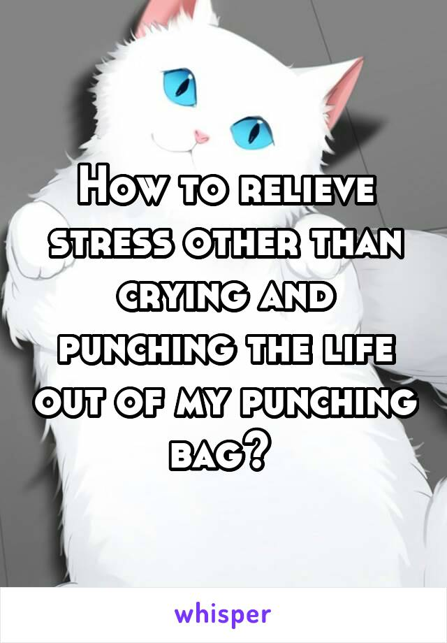 How to relieve stress other than crying and punching the life out of my punching bag?