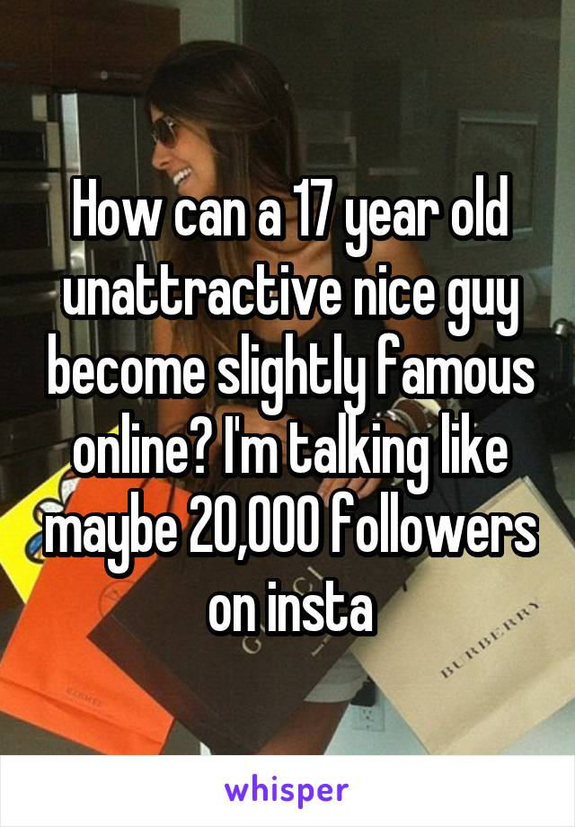 How can a 17 year old unattractive nice guy become slightly famous online? I'm talking like maybe 20,000 followers on insta