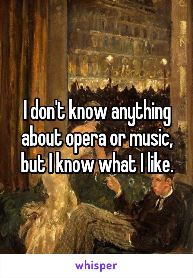 I don't know anything about opera or music, but I know what I like.