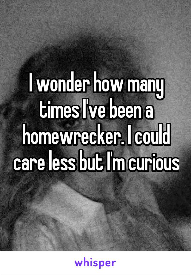 I wonder how many times I've been a homewrecker. I could care less but I'm curious