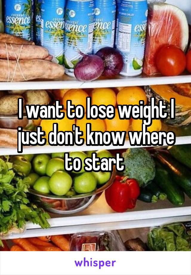 I want to lose weight I just don't know where to start