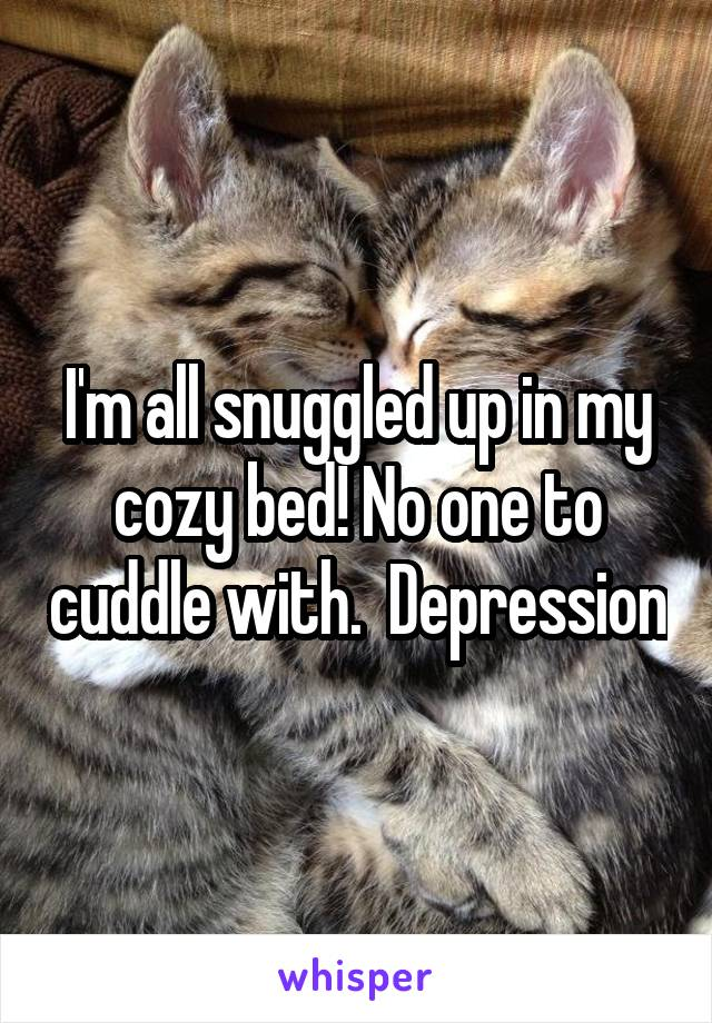 I'm all snuggled up in my cozy bed! No one to cuddle with.  Depression