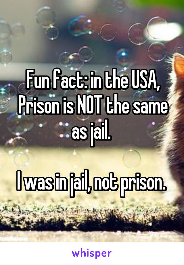 Fun fact: in the USA, Prison is NOT the same as jail.   I was in jail, not prison.