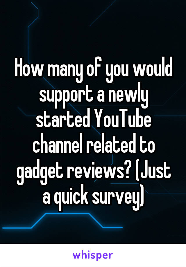 How many of you would support a newly started YouTube channel related to gadget reviews? (Just a quick survey)