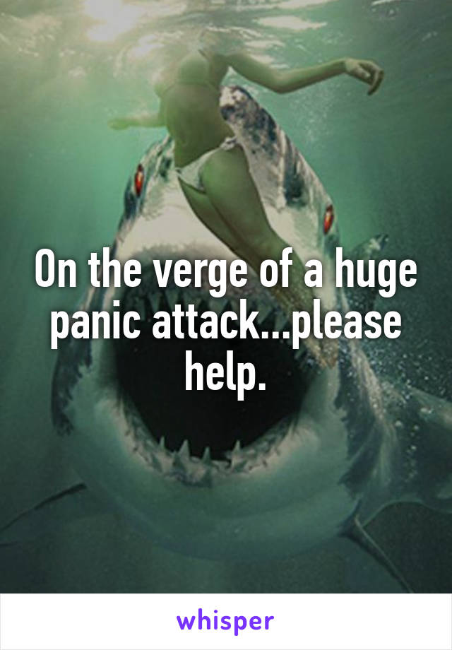 On the verge of a huge panic attack...please help.
