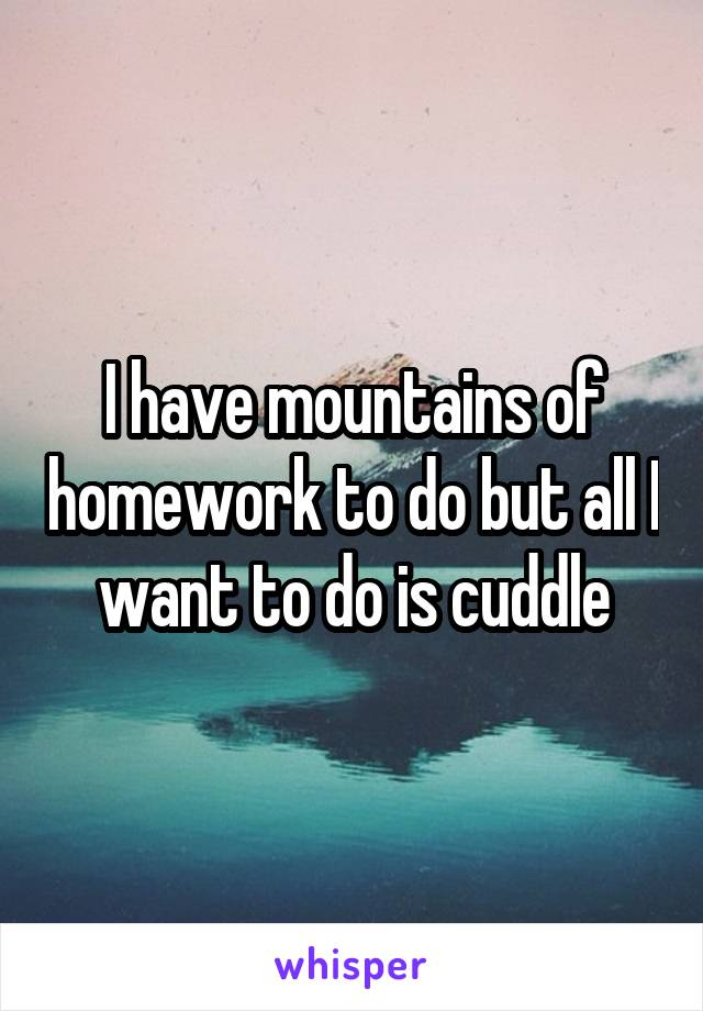 I have mountains of homework to do but all I want to do is cuddle