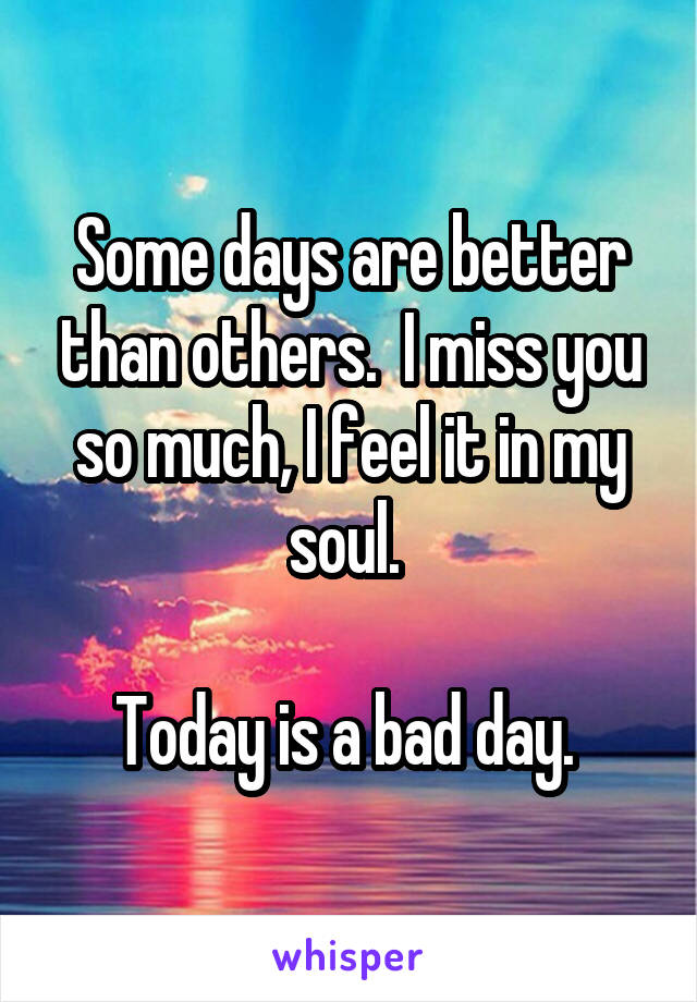 Some days are better than others.  I miss you so much, I feel it in my soul.   Today is a bad day.
