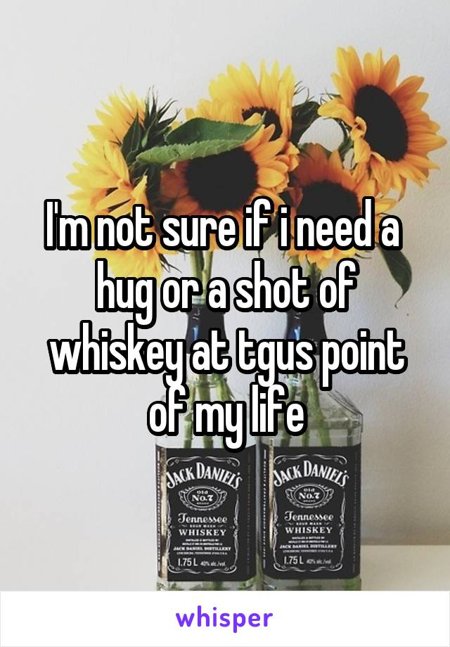 I'm not sure if i need a  hug or a shot of whiskey at tgus point of my life