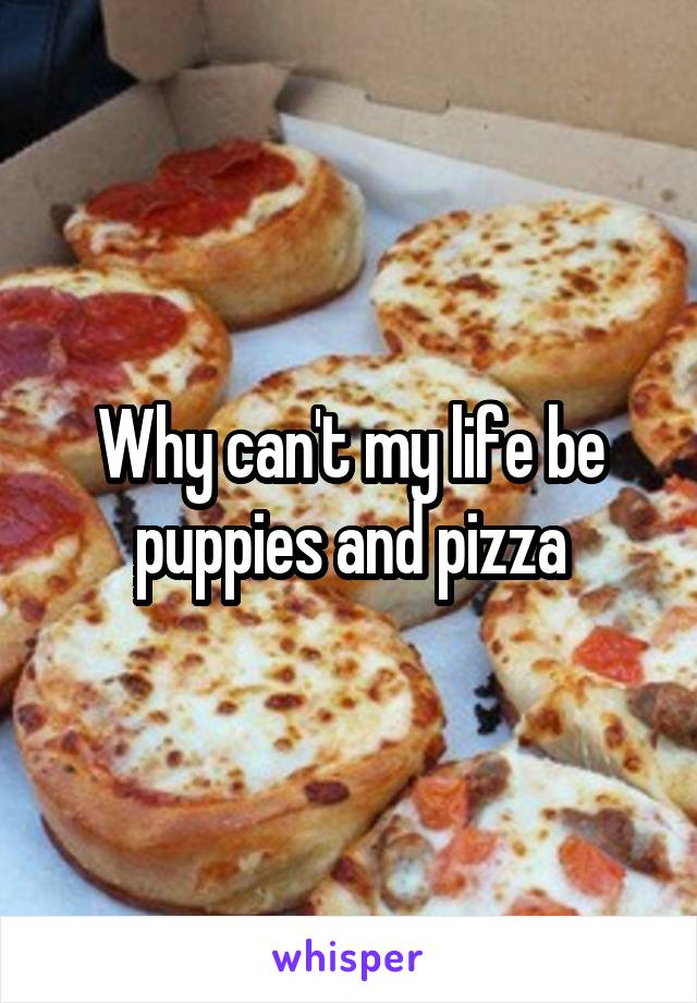 Why can't my life be puppies and pizza