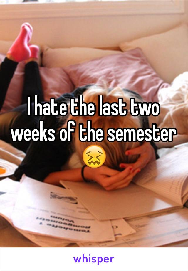 I hate the last two weeks of the semester  😖