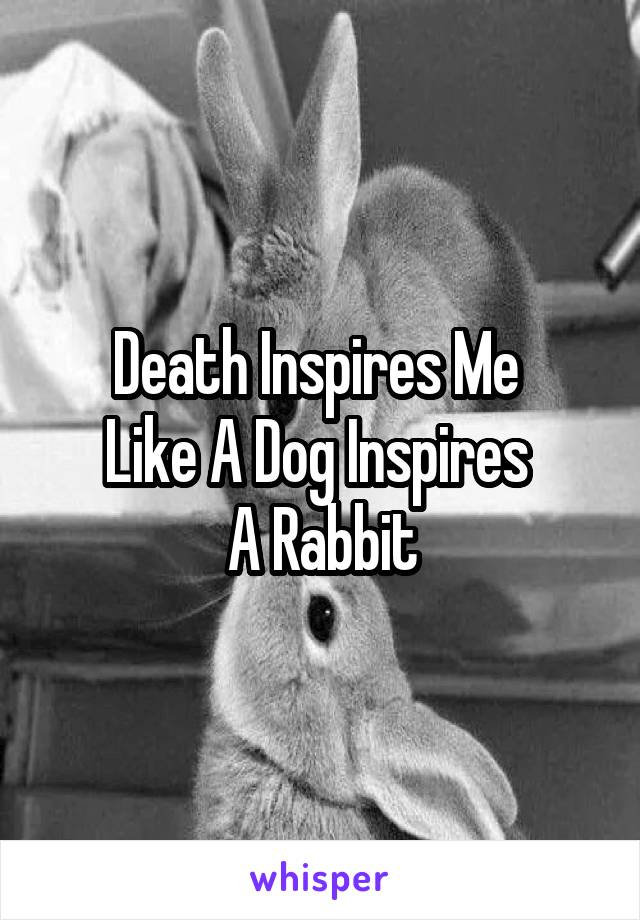 Death Inspires Me  Like A Dog Inspires  A Rabbit